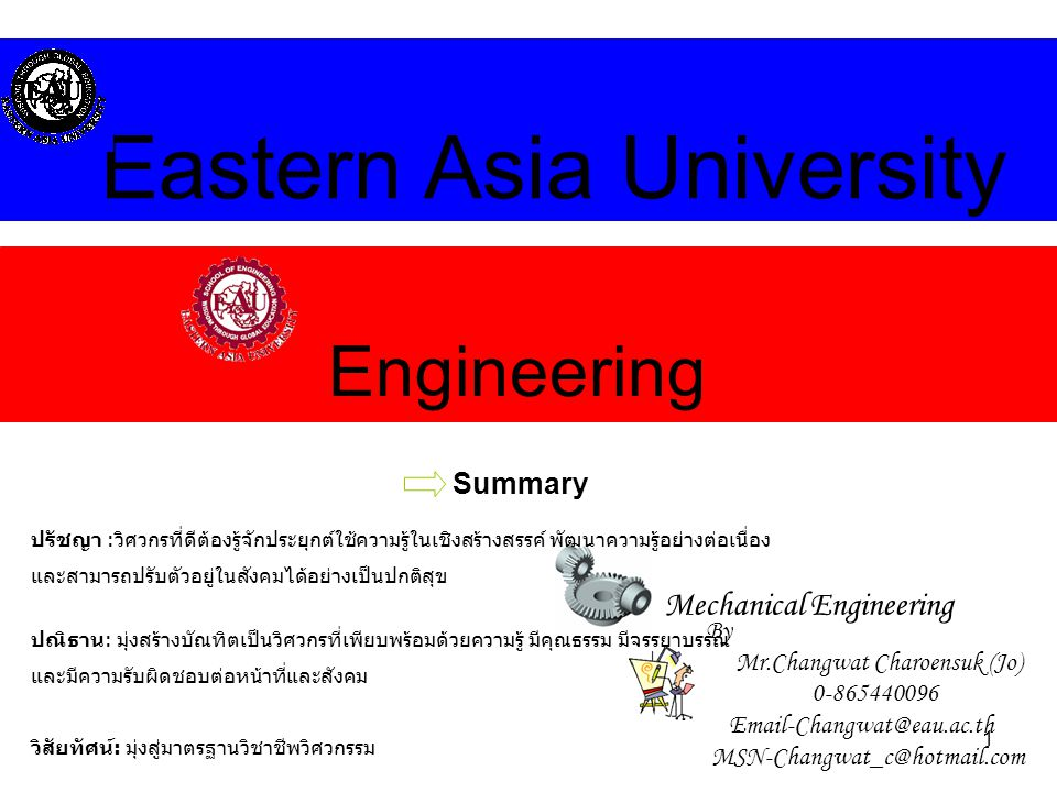 1 Engineering Eastern Asia University Mechanical Engineering Summary By Mr.Changwat Charoensuk (Jo) 0-865440096 Email-Changwat@eau.ac.th MSN-Changwat_