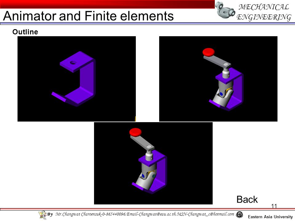 11 MECHANICAL ENGINEERING Eastern Asia University Animator and Finite elements By Mr.Changwat Charoensuk-0-865440096,Email-Changwat@eau.ac.th,MSN-Chan