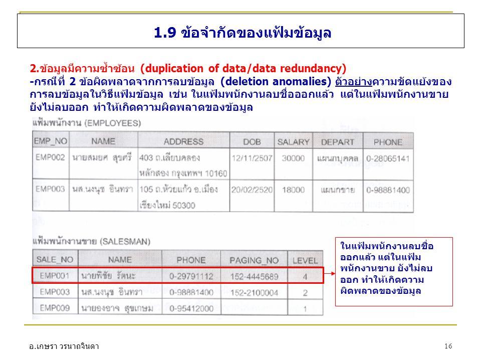 อ. เกษรา วรนาถจินดา 16 1.9 ข้อจำกัดของแฟ้มข้อมูล 2.ข้อมูลมีความซ้ำซ้อน (duplication of data/data redundancy) -กรณีที่ 2 ข้อผิดพลาดจากการลบข้อมูล (dele