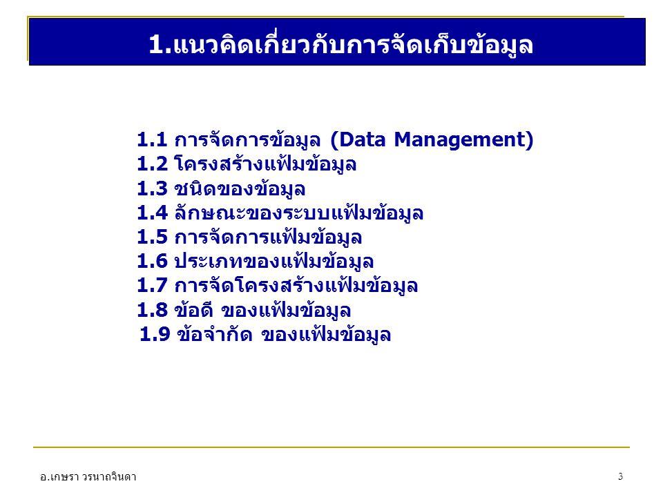 อ. เกษรา วรนาถจินดา 3 1.แนวคิดเกี่ยวกับการจัดเก็บข้อมูล 1.1 การจัดการข้อมูล (Data Management) 1.2 โครงสร้างแฟ้มข้อมูล 1.3 ชนิดของข้อมูล 1.4 ลักษณะของร