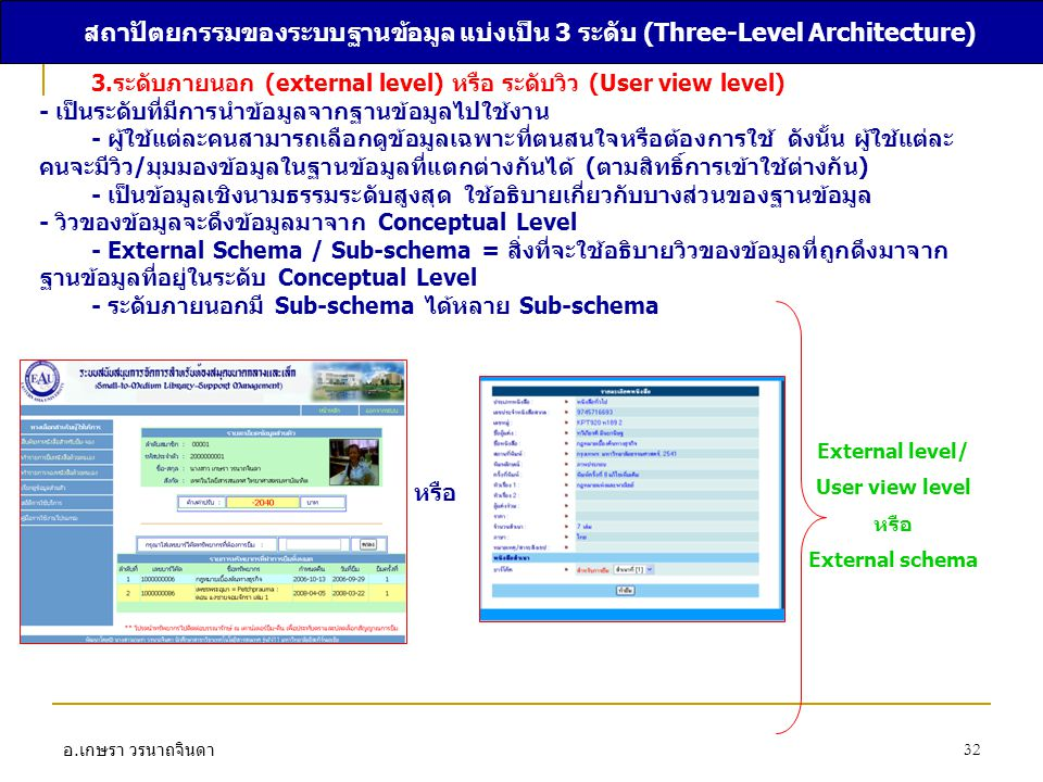 อ. เกษรา วรนาถจินดา 32 สถาปัตยกรรมของระบบฐานข้อมูล แบ่งเป็น 3 ระดับ (Three-Level Architecture) 3.ระดับภายนอก (external level) หรือ ระดับวิว (User view