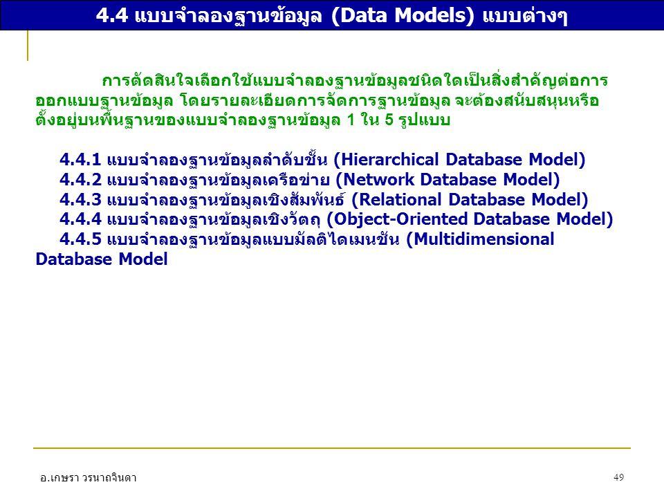 อ. เกษรา วรนาถจินดา 49 4.4 แบบจำลองฐานข้อมูล (Data Models) แบบต่างๆ การตัดสินใจเลือกใช้แบบจำลองฐานข้อมูลชนิดใดเป็นสิ่งสำคัญต่อการ ออกแบบฐานข้อมูล โดยร