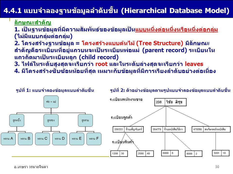 อ. เกษรา วรนาถจินดา 50 4.4.1 แบบจำลองฐานข้อมูลลำดับชั้น (Hierarchical Database Model) ลักษณะสำคัญ 1. เป็นฐานข้อมูลที่มีความสัมพันธ์ของข้อมูลเป็นแบบหนึ