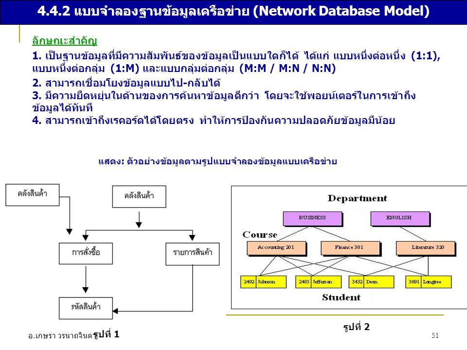 อ. เกษรา วรนาถจินดา 51 4.4.2 แบบจำลองฐานข้อมูลเครือข่าย (Network Database Model) ลักษณะสำคัญ 1. เป็นฐานข้อมูลที่มีความสัมพันธ์ของข้อมูลเป็นแบบใดก็ได้