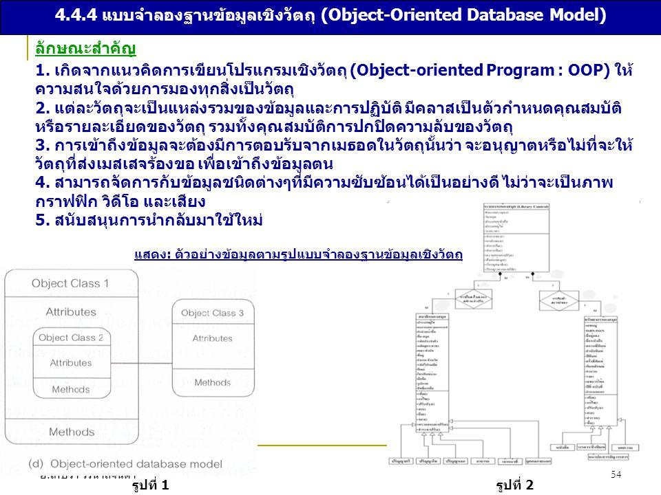อ. เกษรา วรนาถจินดา 54 4.4.4 แบบจำลองฐานข้อมูลเชิงวัตถุ (Object-Oriented Database Model) ลักษณะสำคัญ 1. เกิดจากแนวคิดการเขียนโปรแกรมเชิงวัตถุ (Object-