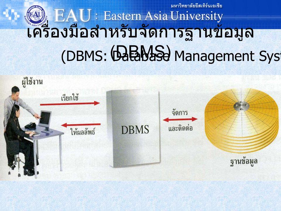 เครื่องมือสำหรับจัดการฐานข้อมูล (DBMS) (DBMS: Database Management System)