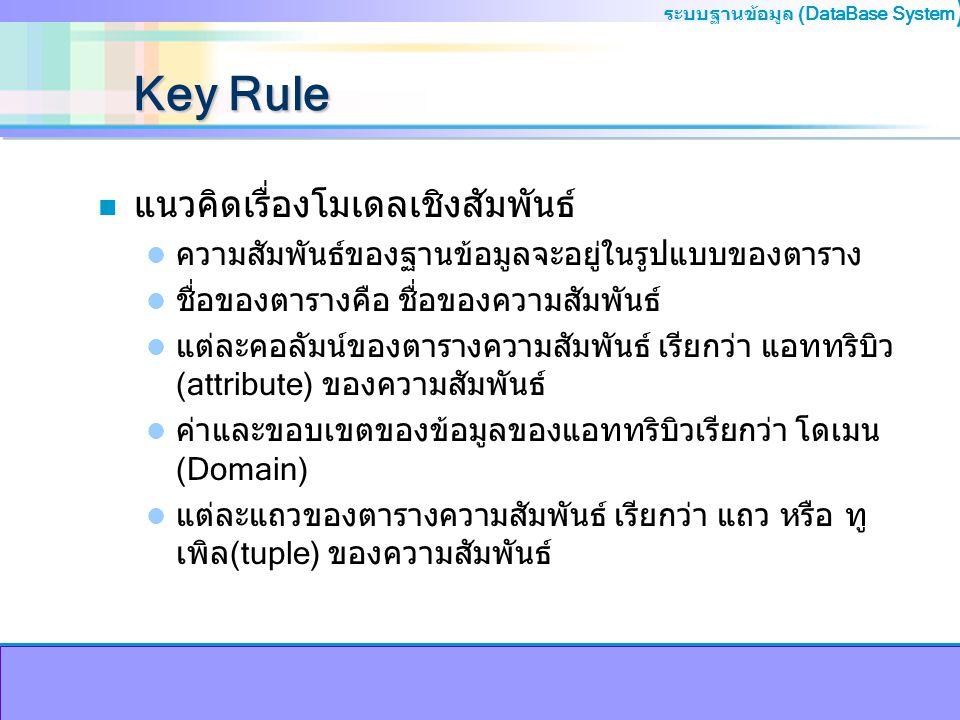 ระบบฐานข้อมูล (DataBase System ) Key Rule n แนวคิดเรื่องโมเดลเชิงสัมพันธ์ ความสัมพันธ์ของฐานข้อมูลจะอยู่ในรูปแบบของตาราง ชื่อของตารางคือ ชื่อของความสั