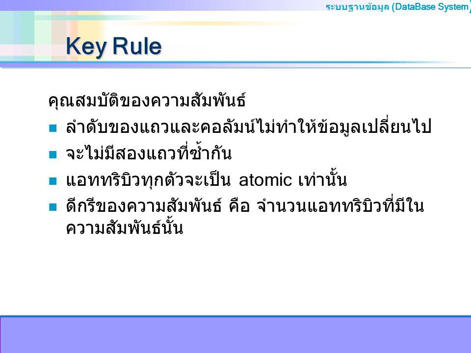 ระบบฐานข้อมูล (DataBase System ) Key Rule คุณสมบัติของความสัมพันธ์ n ลำดับของแถวและคอลัมน์ไม่ทำให้ข้อมูลเปลี่ยนไป n จะไม่มีสองแถวที่ซ้ำกัน n แอททริบิว