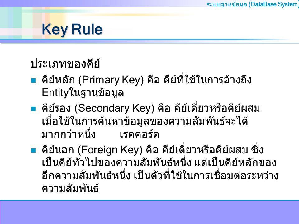 ระบบฐานข้อมูล (DataBase System ) Key Rule ประเภทของคีย์ n คีย์หลัก (Primary Key) คือ คีย์ที่ใช้ในการอ้างถึง Entityในฐานข้อมูล n คีย์รอง (Secondary Key