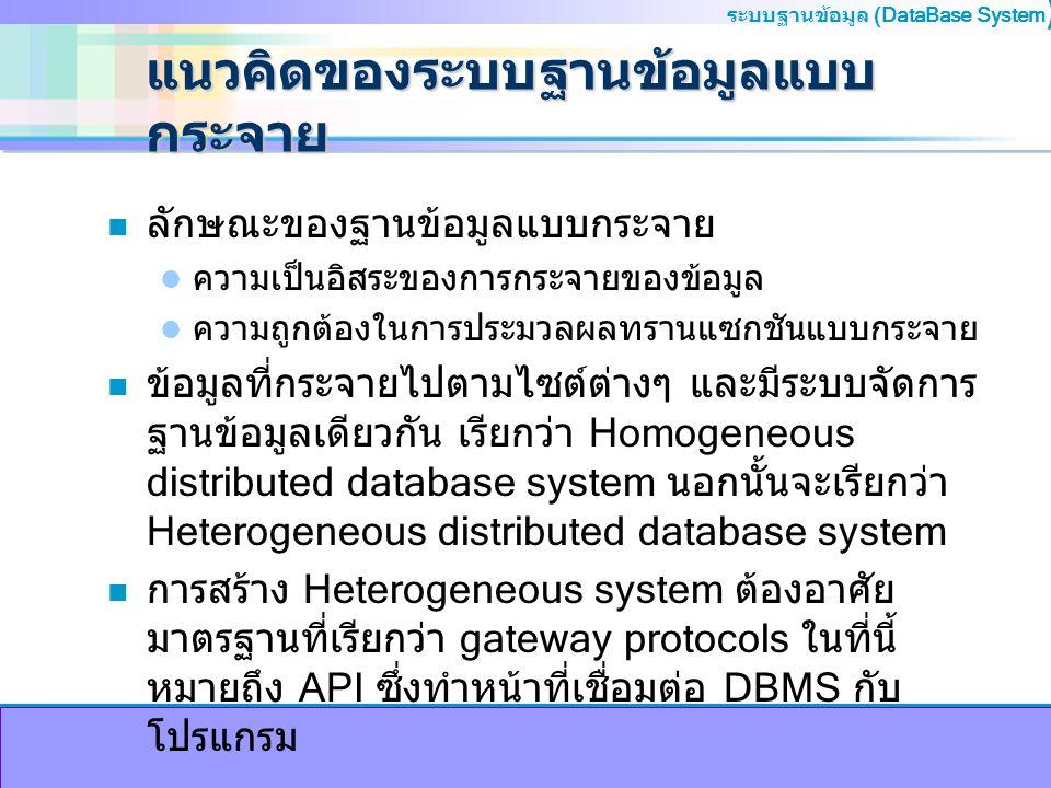 ระบบฐานข้อมูล (DataBase System ) แนวคิดของระบบฐานข้อมูลแบบ กระจาย n การเก็บข้อมูลของระบบฐานข้อมูลแบบกระจาย การทำสำเนา (Replication) การทำสำเนาของรีเลชันไว้ หลายๆสำเนา และแต่ละสำเนาเก็บไว้ต่างไซต์กัน การแยกรีเลชัน (Fragmentation) การแยกรีเลชันออก เป็นหลายๆส่วน และจัดเก็บแต่ละส่วนไว้ต่างไซต์กัน วิธี Replication และ Fragmentation การแยกรีเลชันอ อกเป็นหลายๆส่วน และแต่ละส่วนก็จะมีการจัดการแบบ สำเนา