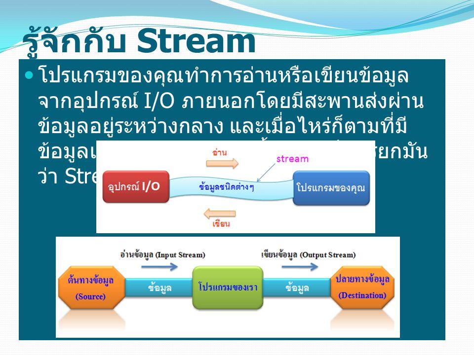 การทำงานแบบ Byte Stream Byte Stream เป็น Stream ที่ Java ใช้สำหรับ การเขียนหรืออ่านข้อมูลแบบเครื่อง (machine- formatted data) โดยทำการสร้างคลาสย่อย ขึ้นมาจากคลาส InputStream และ OutputStream แต่เป็นภาษาที่มนุษย์ไม่เข้าใจ ต้องผ่านกระบวนการ InputStream อีกครั้งจึงจะ ออกมาเป็นข้อความที่มนุษย์เข้าใจได้