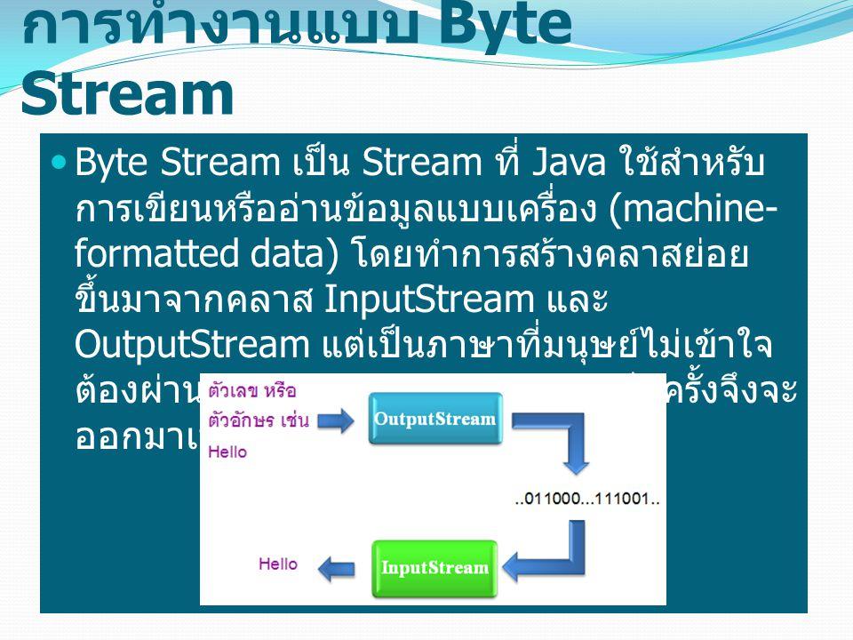 การทำงานแบบ Byte Stream Byte Stream เป็น Stream ที่ Java ใช้สำหรับ การเขียนหรืออ่านข้อมูลแบบเครื่อง (machine- formatted data) โดยทำการสร้างคลาสย่อย ขึ