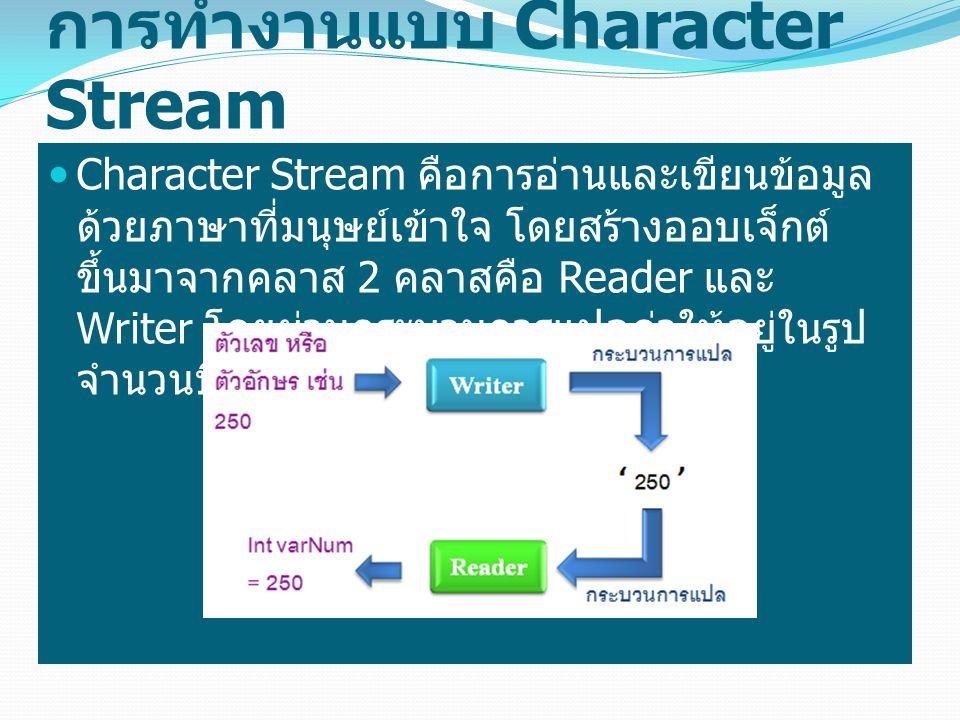 การทำงานแบบ Character Stream Character Stream คือการอ่านและเขียนข้อมูล ด้วยภาษาที่มนุษย์เข้าใจ โดยสร้างออบเจ็กต์ ขึ้นมาจากคลาส 2 คลาสคือ Reader และ Wr