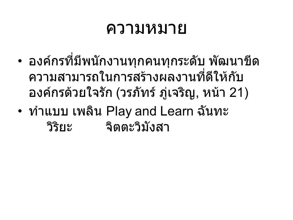 ความหมาย องค์กรที่มีพนักงานทุกคนทุกระดับ พัฒนาขีด ความสามารถในการสร้างผลงานที่ดีให้กับ องค์กรด้วยใจรัก ( วรภัทร์ ภู่เจริญ, หน้า 21) ทำแบบ เพลิน Play and Learn ฉันทะ วิริยะ จิตตะวิมังสา