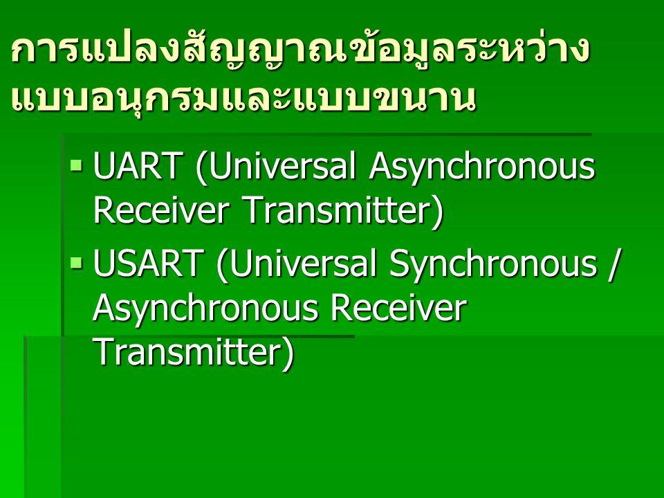 การแปลงสัญญาณข้อมูลระหว่าง แบบอนุกรมและแบบขนาน  UART (Universal Asynchronous Receiver Transmitter)  USART (Universal Synchronous / Asynchronous Rece