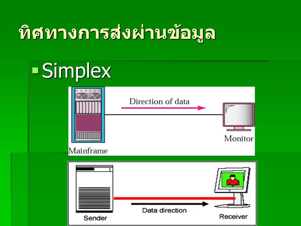 ทิศทางการส่งผ่านข้อมูล  Simplex