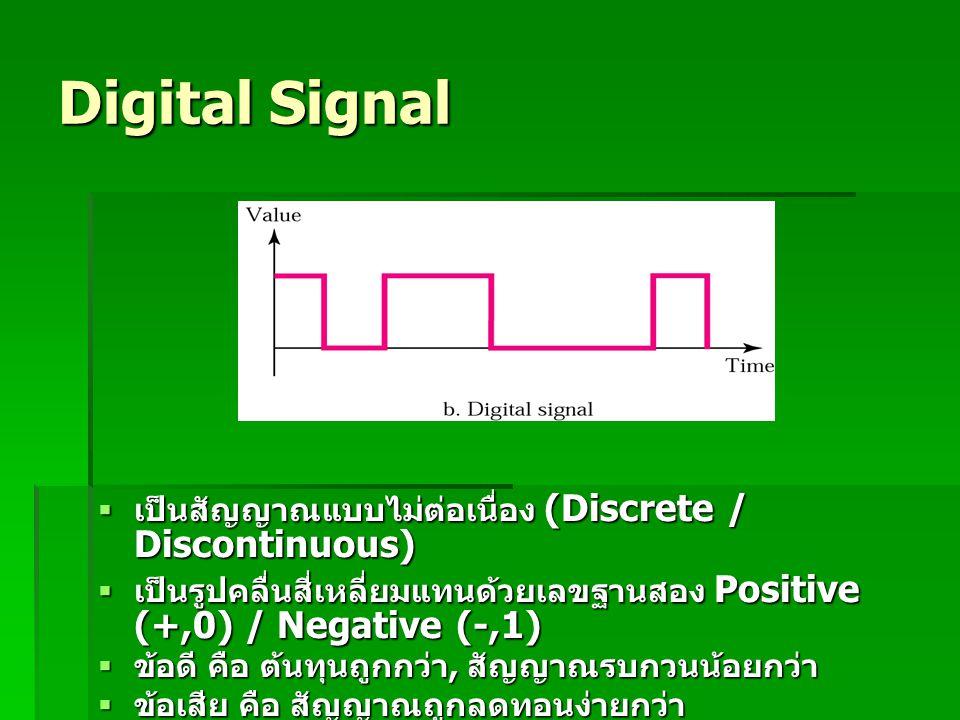 Digital Signal  เป็นสัญญาณแบบไม่ต่อเนื่อง (Discrete / Discontinuous)  เป็นรูปคลื่นสี่เหลี่ยมแทนด้วยเลขฐานสอง Positive (+,0) / Negative (-,1)  ข้อดี