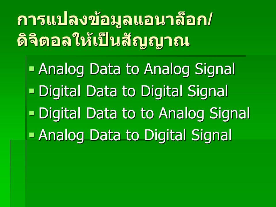 การแปลงข้อมูลแอนาล็อก / ดิจิตอลให้เป็นสัญญาณ  Analog Data to Analog Signal  Digital Data to Digital Signal  Digital Data to to Analog Signal  Anal