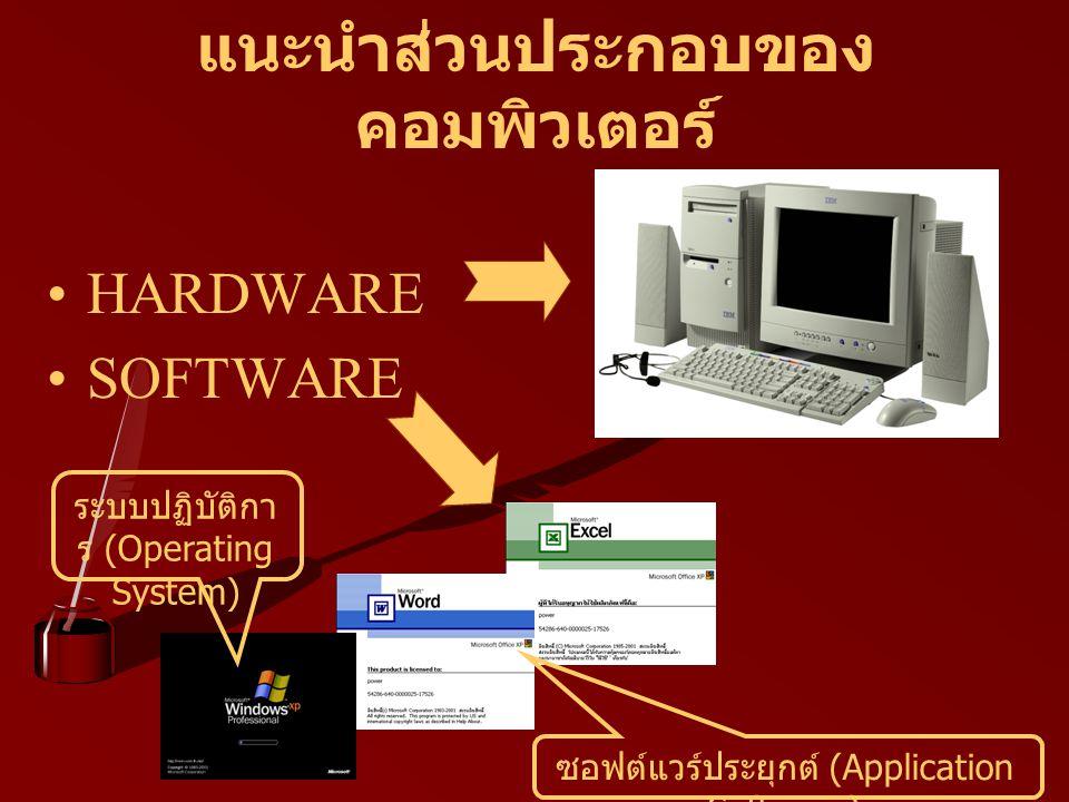 ออกจาก Windows XP อย่างถูก วิธี การออกจากระบบปฏิบัติการ Microsoft Windows XP ควรปิดโปรแกรมที่ใช้งานทั้งหมดให้ เรียบร้อยก่อน จากนั้นคลิกที่ปุ่ม Start จะปรากฏ แถบเมนูให้เลือกดังรูป Log Off คือ การออกจากระบบเพื่อเปลี่ยนผู้ใช้ โดยกลับไปรอเข้าระบบใหม่อีกครั้ง Turn Off หรือ Shut Down คือ การปิดเครื่อง คอมพิวเตอร์