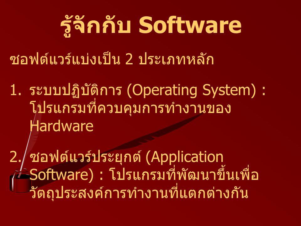 รู้จักกับ Software ซอฟต์แวร์แบ่งเป็น 2 ประเภทหลัก 1. ระบบปฏิบัติการ (Operating System) : โปรแกรมที่ควบคุมการทำงานของ Hardware 2. ซอฟต์แวร์ประยุกต์ (Ap