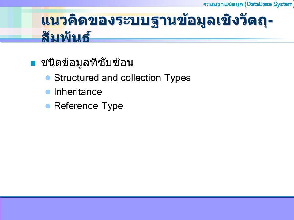 ระบบฐานข้อมูล (DataBase System ) แนวคิดของระบบฐานข้อมูลเชิงวัตถุ- สัมพันธ์ n ชนิดข้อมูลที่ซับซ้อน Structured and collection Types Inheritance Referenc