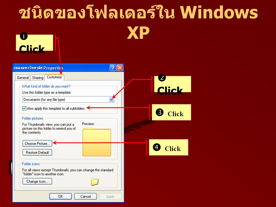 ชนิดของโฟลเดอร์ใน Windows XP  Click  Click  Click  Click