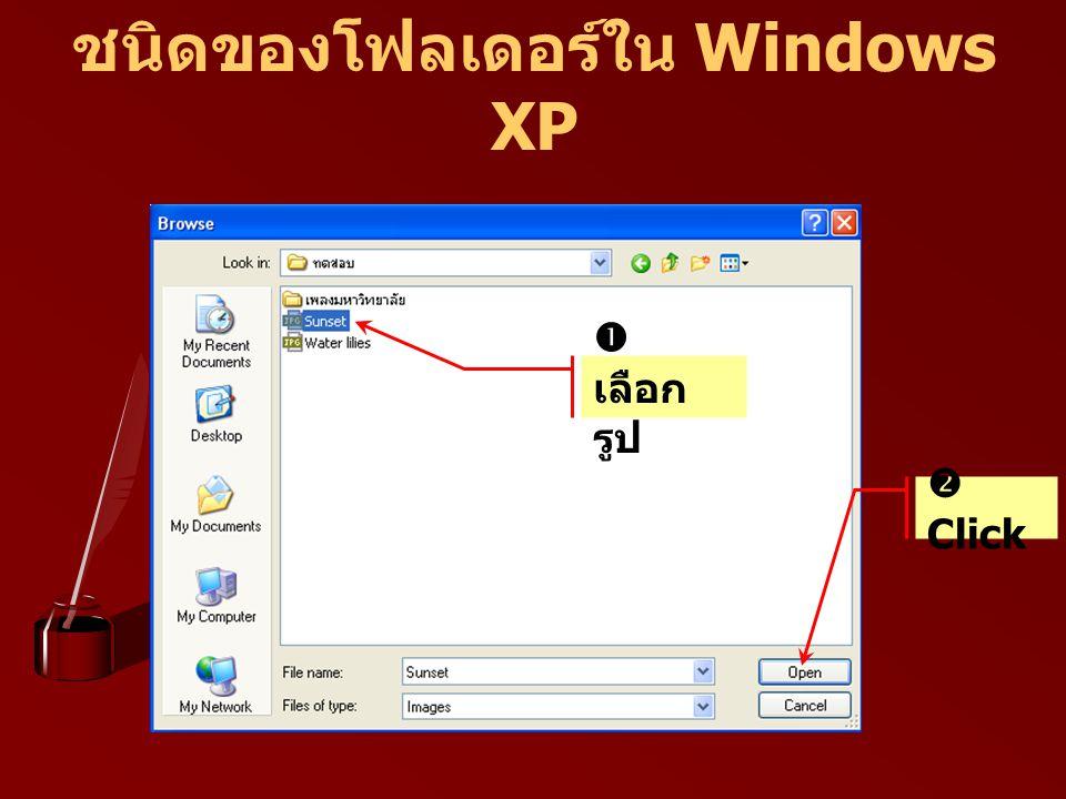 ชนิดของโฟลเดอร์ใน Windows XP  เลือก รูป  Click