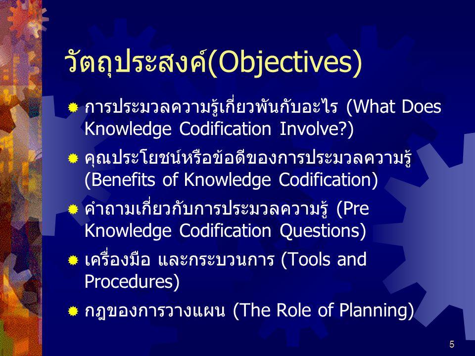 5 วัตถุประสงค์(Objectives)  การประมวลความรู้เกี่ยวพันกับอะไร (What Does Knowledge Codification Involve?)  คุณประโยชน์หรือข้อดีของการประมวลความรู้ (Benefits of Knowledge Codification)  คำถามเกี่ยวกับการประมวลความรู้ (Pre Knowledge Codification Questions)  เครื่องมือ และกระบวนการ (Tools and Procedures)  กฎของการวางแผน (The Role of Planning)