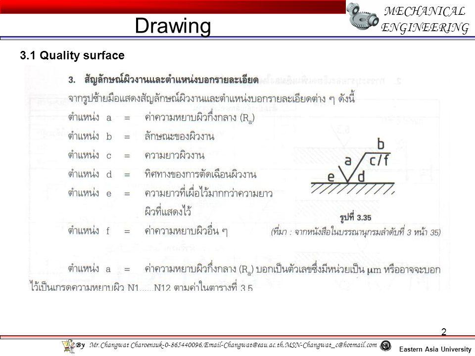 13 MECHANICAL ENGINEERING Eastern Asia University Drawing By Mr.Changwat Charoensuk-0-865440096,Email-Changwat@eau.ac.th,MSN-Changwat_c@hotmail.com 3.3 Geometrical tolerance