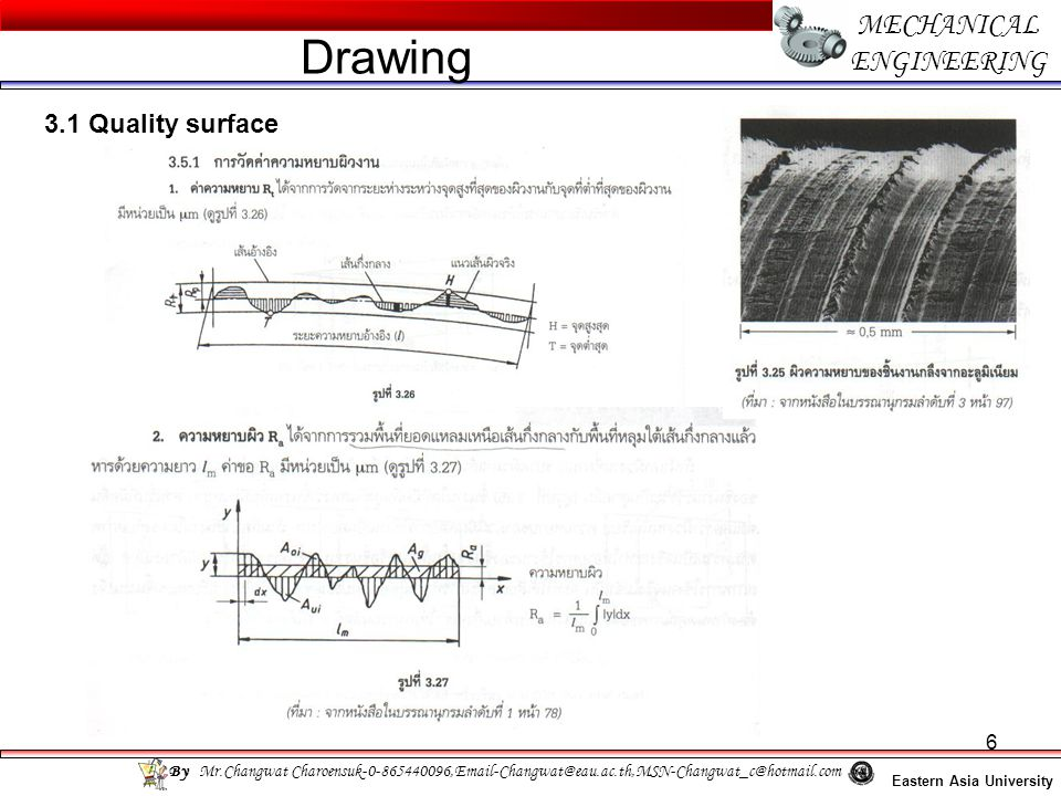17 MECHANICAL ENGINEERING Eastern Asia University Drawing By Mr.Changwat Charoensuk-0-865440096,Email-Changwat@eau.ac.th,MSN-Changwat_c@hotmail.com 3.3 Geometrical tolerance