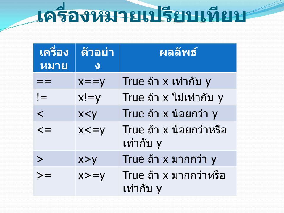 เครื่องหมายเปรียบเทียบ เครื่อง หมาย ตัวอย่า ง ผลลัพธ์ ==x==y True ถ้า x เท่ากับ y !=x!=y True ถ้า x ไม่เท่ากับ y <x<y True ถ้า x น้อยกว่า y <=x<=y Tru