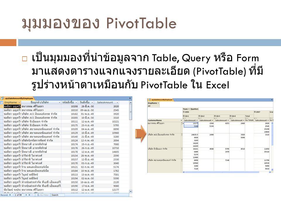 ขั้นตอนการสร้าง PivotTable  สร้าง Query ชื่อ qrySaleAmountByEmployee EmpName: [FirstName] & & [LastName] SalesAmount: Sum([Quantity]*[UnitPrice]*(1-[Discount]))