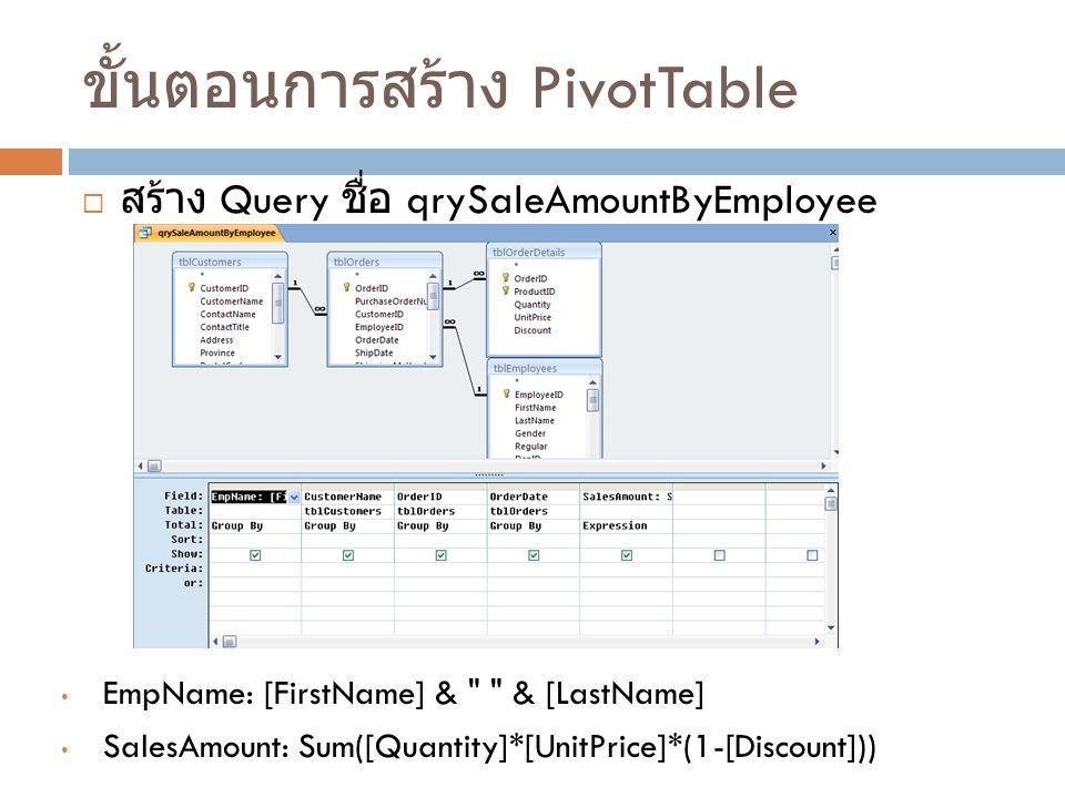 ขั้นตอนที่ 1 : กำหนดแหล่งข้อมูลและจัดวาง ฟีลด์  ขั้นตอนที่ 2 : จัดรูปแบบและประมวลผลข้อมูล  ขั้นตอนที่ 3 : จัดเก็บในมุมมองของ PivotTable ขั้นตอนการสร้าง PivotTable และ PivotChart