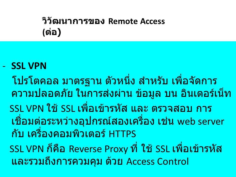 -SSL VPN โปรโตคอล มาตรฐาน ตัวหนึ่ง สำหรับ เพื่อจัดการ ความปลอดภัย ในการส่งผ่าน ข้อมูล บน อินเตอร์เน็ท SSL VPN ใช้ SSL เพื่อเข้ารหัส และ ตรวจสอบ การ เช