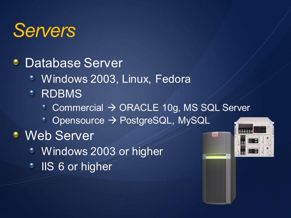Servers Database Server Windows 2003, Linux, Fedora RDBMS Commercial  ORACLE 10g, MS SQL Server Opensource  PostgreSQL, MySQL Web Server Windows 200