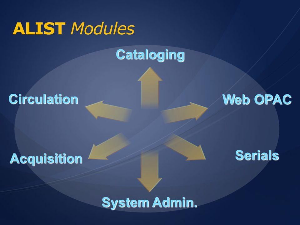 จุดเด่นระบบห้องสมุด ALIST CatalogingCirculationWeb OPAC What's new!!.