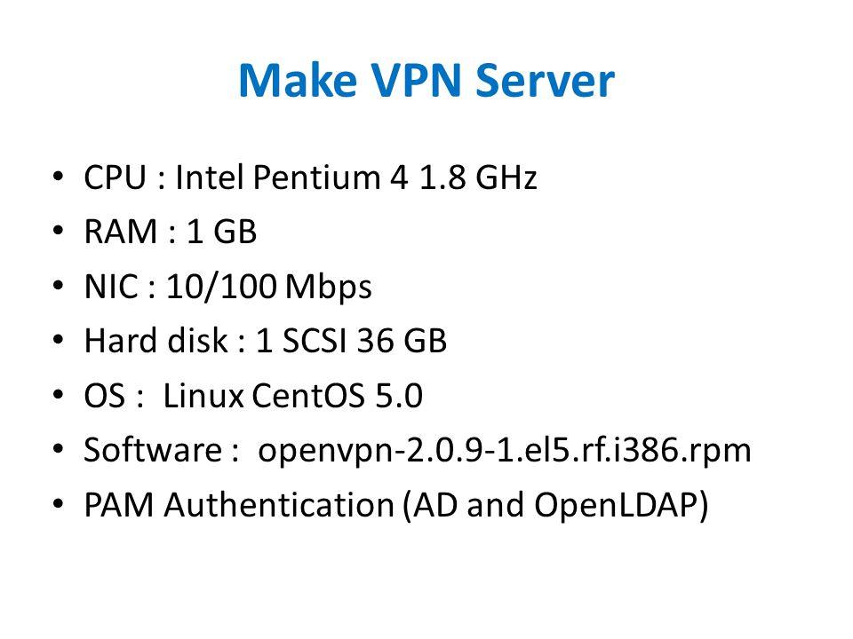 Make VPN Server CPU : Intel Pentium 4 1.8 GHz RAM : 1 GB NIC : 10/100 Mbps Hard disk : 1 SCSI 36 GB OS : Linux CentOS 5.0 Software : openvpn-2.0.9-1.e