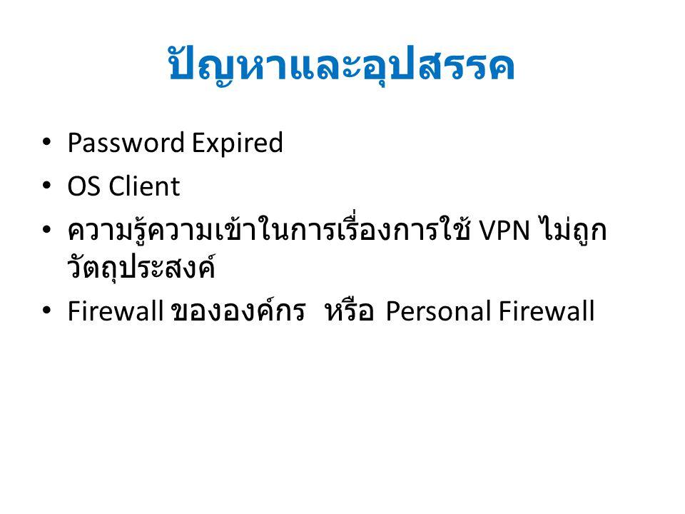 ปัญหาและอุปสรรค Password Expired OS Client ความรู้ความเข้าในการเรื่องการใช้ VPN ไม่ถูก วัตถุประสงค์ Firewall ขององค์กร หรือ Personal Firewall