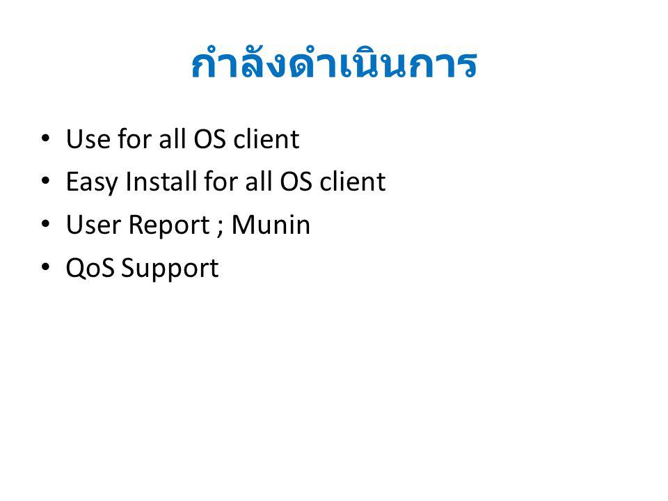กำลังดำเนินการ Use for all OS client Easy Install for all OS client User Report ; Munin QoS Support