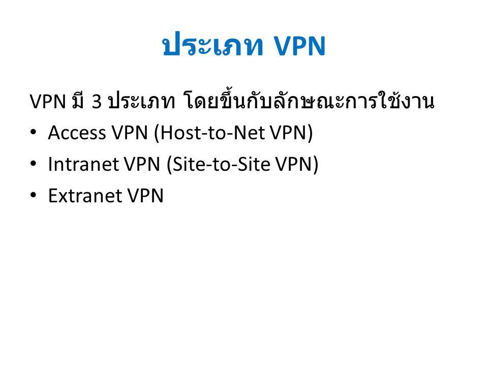 ประเภท VPN VPN มี 3 ประเภท โดยขึ้นกับลักษณะการใช้งาน Access VPN (Host-to-Net VPN) Intranet VPN (Site-to-Site VPN) Extranet VPN