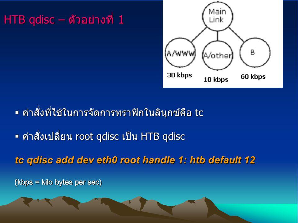 HTB qdisc – ตัวอย่างที่ 1  คำสั่งที่ใช้ในการจัดการทราฟิกในลินุกซ์คือ tc  คำสั่งเปลี่ยน root qdisc เป็น HTB qdisc tc qdisc add dev eth0 root handle 1: htb default 12 (kbps = kilo bytes per sec)