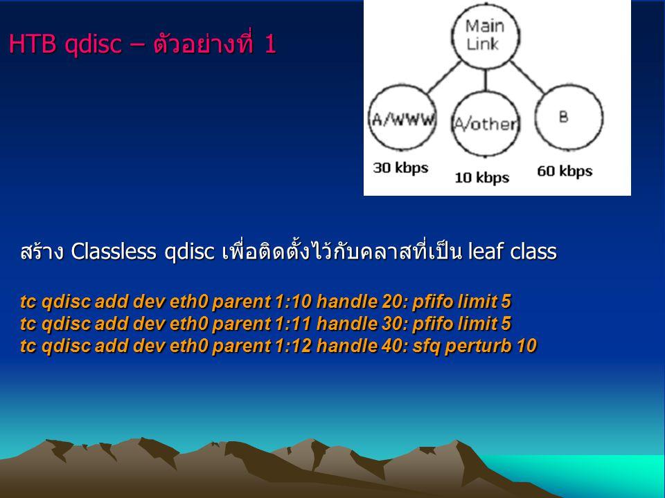 HTB qdisc – ตัวอย่างที่ 1 สร้าง Classless qdisc เพื่อติดตั้งไว้กับคลาสที่เป็น leaf class tc qdisc add dev eth0 parent 1:10 handle 20: pfifo limit 5 tc
