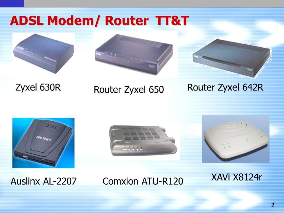2 ADSL Modem/ Router TT&T Zyxel 630R Router Zyxel 650 Auslinx AL-2207Comxion ATU-R120 Router Zyxel 642R XAVi X8124r