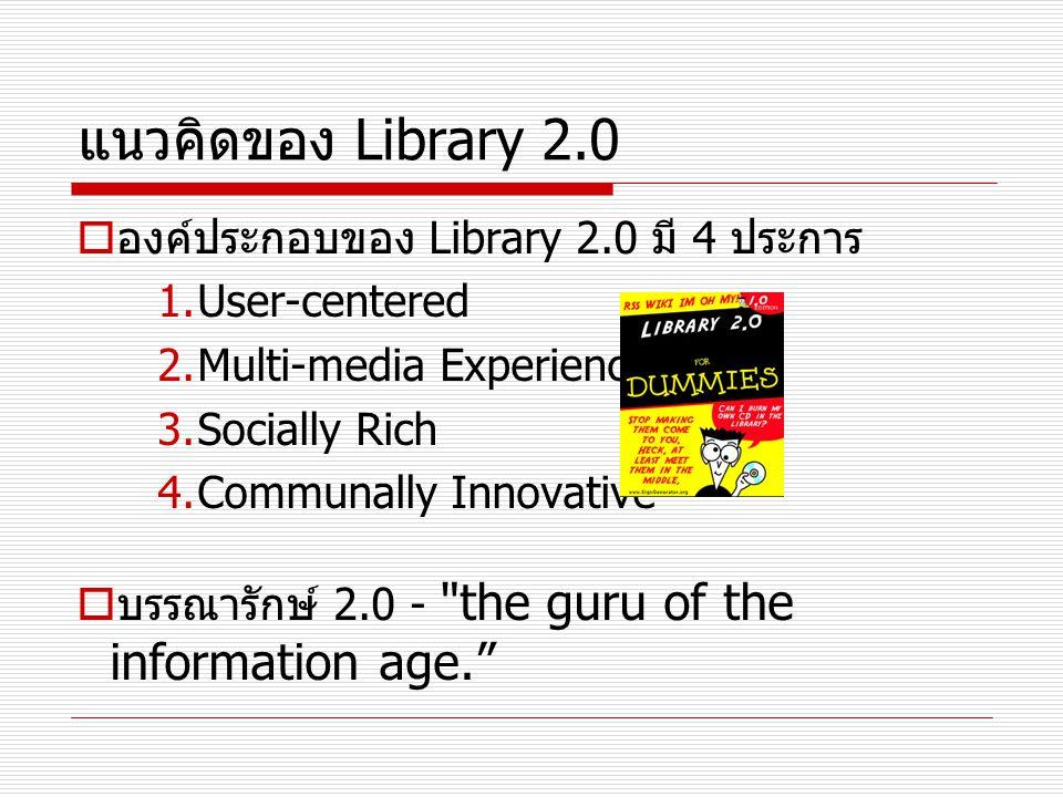 แนวคิดของ Library 2.0  องค์ประกอบของ Library 2.0 มี 4 ประการ 1.User-centered 2.Multi-media Experience 3.Socially Rich 4.Communally Innovative  บรรณา