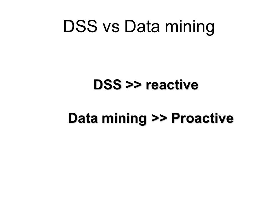 DSS vs Data mining DSS >> reactive Data mining >> Proactive
