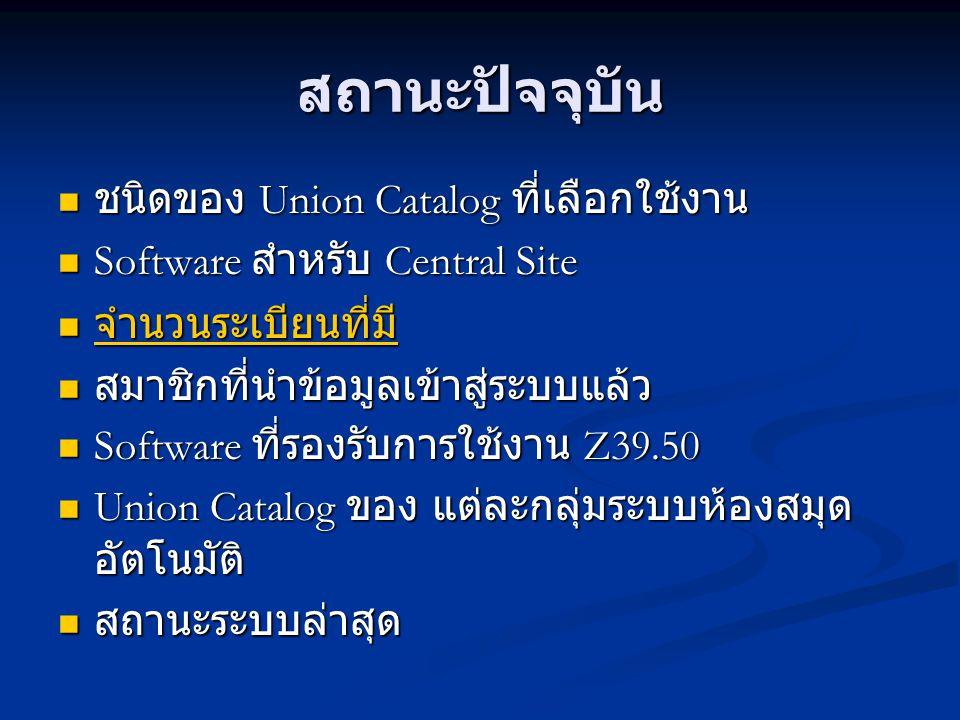 สถานะปัจจุบัน ชนิดของ Union Catalog ที่เลือกใช้งาน ชนิดของ Union Catalog ที่เลือกใช้งาน Software สำหรับ Central Site Software สำหรับ Central Site จำนว