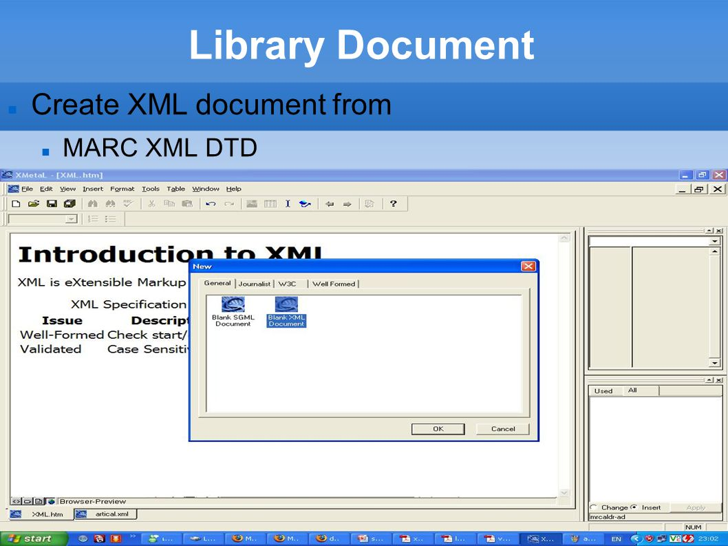 Library Document Create XML document from MARC XML DTD