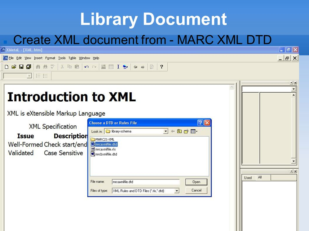 Library Document Create XML document from - MARC XML DTD