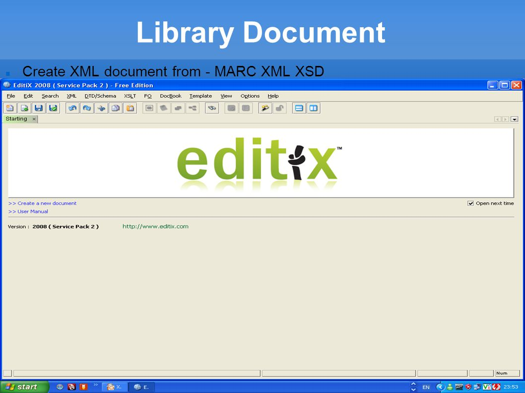 Library Document Create XML document from - MARC XML XSD