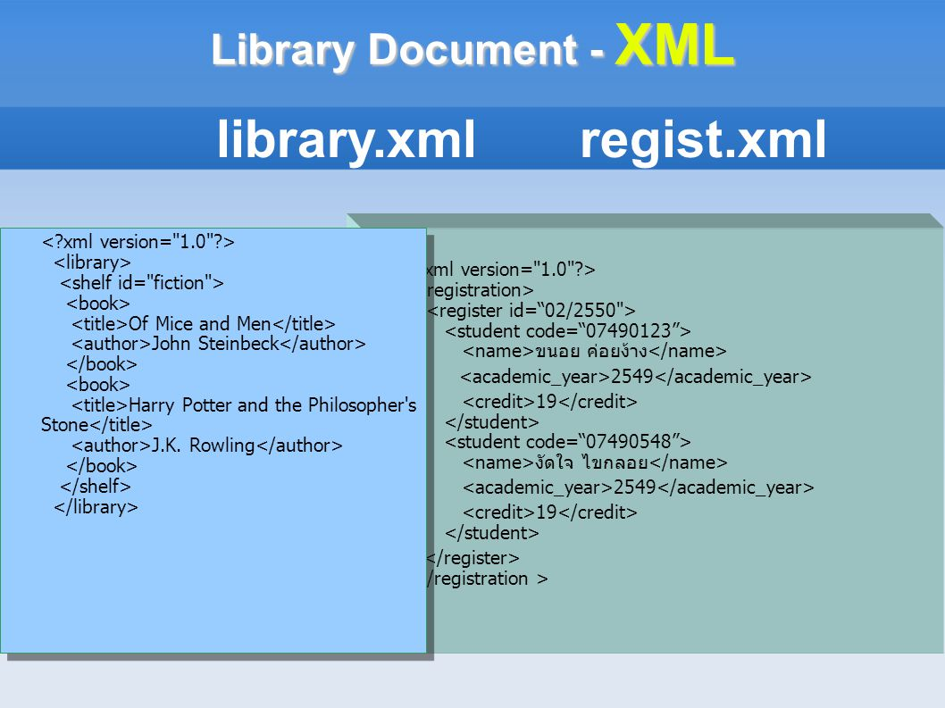 Library Document - XML ขนอย ค่อยง้าง 2549 19 งัดใจ ไขกลอย 2549 19 library.xml regist.xml Of Mice and Men John Steinbeck Harry Potter and the Philosoph